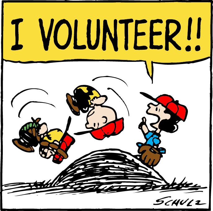 Charlie Brown and friends saying I Volunteer!
